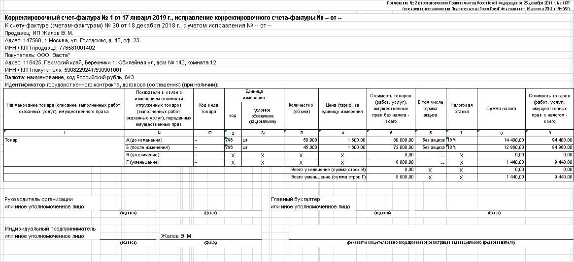 Оформление счет фактуры на возврат товара от покупателя